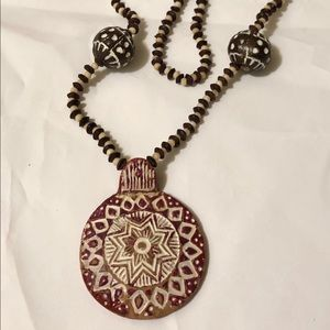 Tribal Design Beaded Clay Pendant Necklace